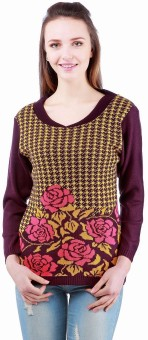 Madrona Winter Floral Print Round Neck Casual Women's Sweater