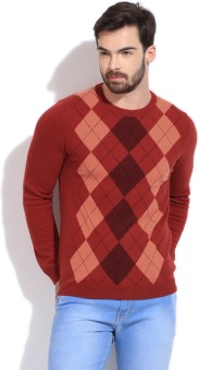 United Colors Of Benetton Geometric Print Round Neck Casual Men's Sweater
