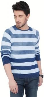 Cottonworld Striped Crew Neck Casual Men's Sweater