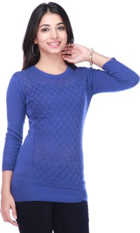 STOP By Shoppers Stop Flat Knit Jumper Solid Round Neck Casual Women's Sweater