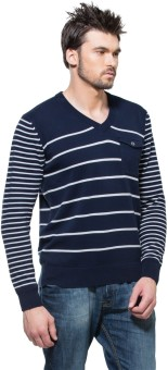 Zovi Navy Blue And White Pullover With Buttoned Pocket Striped V-neck Casual Men's Sweater