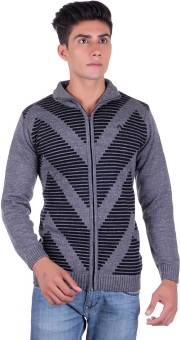 Fabtree Solid, Striped Turtle Neck, V-neck Casual, Party, Festive Men's Sweater