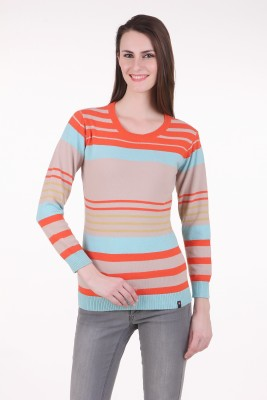 Juelle Juelle Striped Round Neck Casual Women's Sweater (Red)
