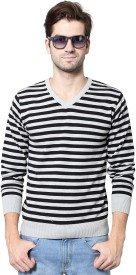 People Striped V-neck Casual Men's Sweater