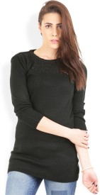 Wrangler Solid Round Neck Casual, Party Women's Sweater