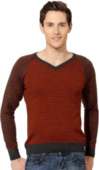 Peter England Striped V-neck Casual Men's Sweater