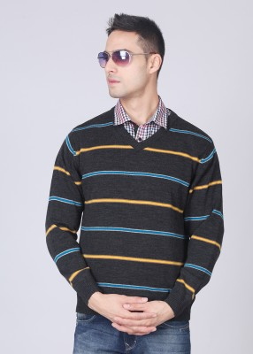 Monte Carlo Striped V-neck Casual Men's Sweater