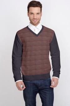 ALX New York Solid V-neck Casual Men's Sweater - SWTDSG8ZJDGZHXKN