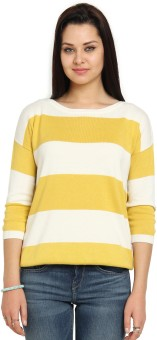 Cottonworld Multicolor Striped Round Neck Casual Women's Sweater