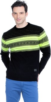 Zovi Black And Green Jacquard Knit Solid Round Neck Casual Men's Sweater