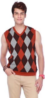 Life By Shoppers Stop Geometric Print V-neck Casual Men's Reversible Sweater - SWTE7V5KQH6BHFYH