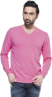 Zovi Neon Pink Pullover Solid V-neck Casual Men's Sweater