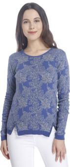 Vero Moda Printed Round Neck Casual Women's Blue Sweater - SWTEHVGYZUUFH6GW