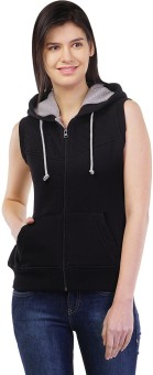 Cashewnut Sleeveless Self Design Women's Reversible Sweatshirt