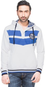 Zovi White With Royal Blue And Hood Full Sleeve Solid Men's Sweatshirt