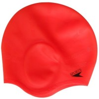 Plyr Silicone Swim Ear Swimming Cap (Red, Pack Of 2)