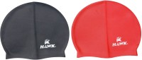 Hawk Silicone Swimming Cap (Red, Black, Pack Of 2)