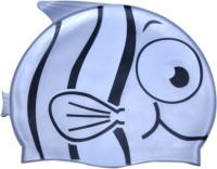 Swimcart FISH PRINT GREY COLOR FOR KIDS Swimming Cap (Grey, Pack Of 1)