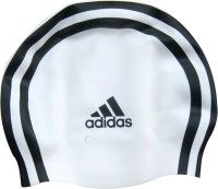 Adidas Silicon Swimming Cap (White, Black, Pack Of 1)