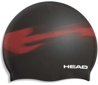 Head Silicon Shadow Swimming Cap (Red, Black, Pack Of 1)