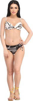 N-Gal Printed Halter White-Black Bikini Set Printed Women's