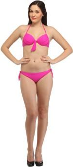 Secret Wish Bright Pink Halter Bikini Solid Women's