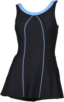 Champ Black Padded Frock Swimwear With Bloomer Striped Women's