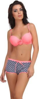 Clovia Clovia 2 Piece Polyamide SwimSuit Of Padded Bra & Printed Hipster In Pink Solid Women's