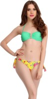 Clovia Clovia 2 Piece Polyamide SwimSuit Of Padded Bra & Printed Brief In Aqua Solid Girl's