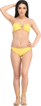 N-Gal Big Rings Ribbon Style Bikini Set Solid Women's