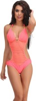 Clovia Clovia Orange Polyamide Monokini Swimsuit With Jacquard Stripes Solid Girl's