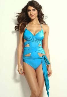 N-Gal Blue Wrap-around One-piece Swimwear Solid Women's