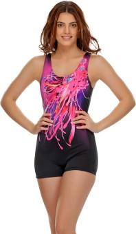Clovia Sexy 1 Pc Swimsuit In Black Graphic Print Women's