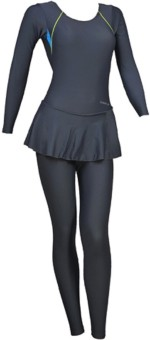 Freestyle Dark Grey Padded Full Body Swim Costume Solid Women's