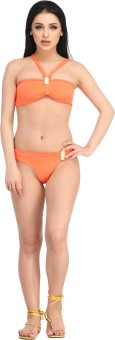 N-Gal Orange Bikini Set Swimwear Solid Women's