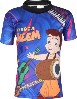 Chhota Bheem Graphic Print Boy's, Girl's Round Neck Blue T-Shirt