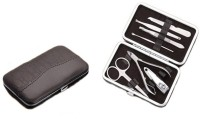 RD Promos Premium Manicure Kit In Leatherette Case (7 Pc.) - Large 1 Tool Multi-utility  Swiss Knife (Brown)
