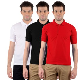 Gdivine Solid Men's Polo Neck Red, White, Black T-Shirt
