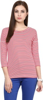 Hypernation Striped Women's Round Neck Red, White T-Shirt