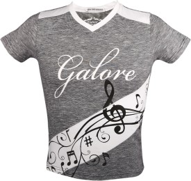 Galore Printed Boy's V-neck Grey T-Shirt
