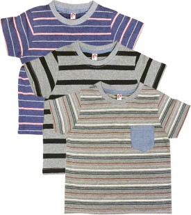 Orange And Orchid Striped Boy's Round Neck T-Shirt Pack Of 3