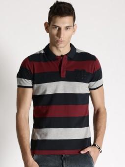 Roadster Striped Men's Polo Neck Dark Blue, Grey T-Shirt