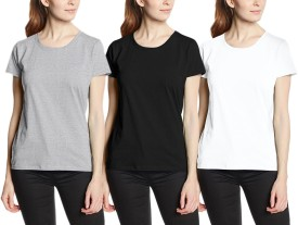 Neo Garments Solid Women's Round Neck Black, Grey, White T-Shirt Pack Of 3