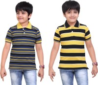 Dongli Striped Baby Boy's Polo Neck Yellow, Black T-Shirt (Pack Of 2)