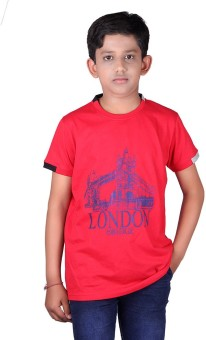 Vivid Bharti Printed Boy's Round Neck Red T-Shirt