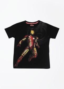 Avenger Printed Boy's Round Neck Black T-shirt