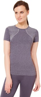 Amante Solid Women's Round Neck Grey T-Shirt
