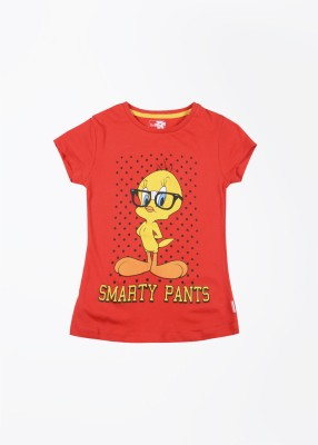 Tweety Tweety Printed Girl's Round Neck T-Shirt (Red)