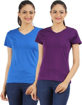 Ap'pulse Solid Women's V-neck Blue, Purple T-Shirt Pack Of 2