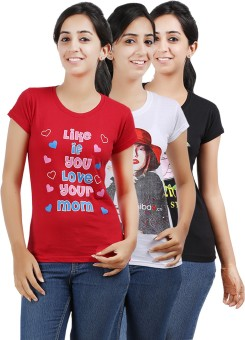 Be Style MSH-OS-105-Multi Printed Women's Round Neck T-Shirt Pack Of 3